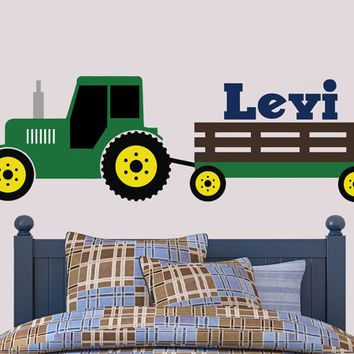 Tractor Wall Decal | John Deere Inspired Wall Decal | Boys Bedroom Decalu2026  sc 1 st  Pinterest & Tractor Wall Decal | John Deere Inspired Wall Decal | Boys Bedroom ...