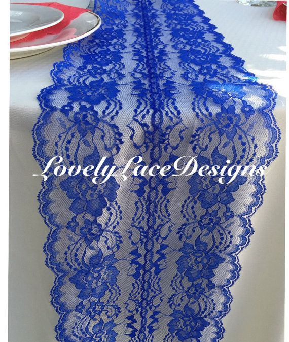 Lace table runner royal bluewedding decor by lovelylacedesigns lace table runner royal bluewedding decor by lovelylacedesigns junglespirit Images