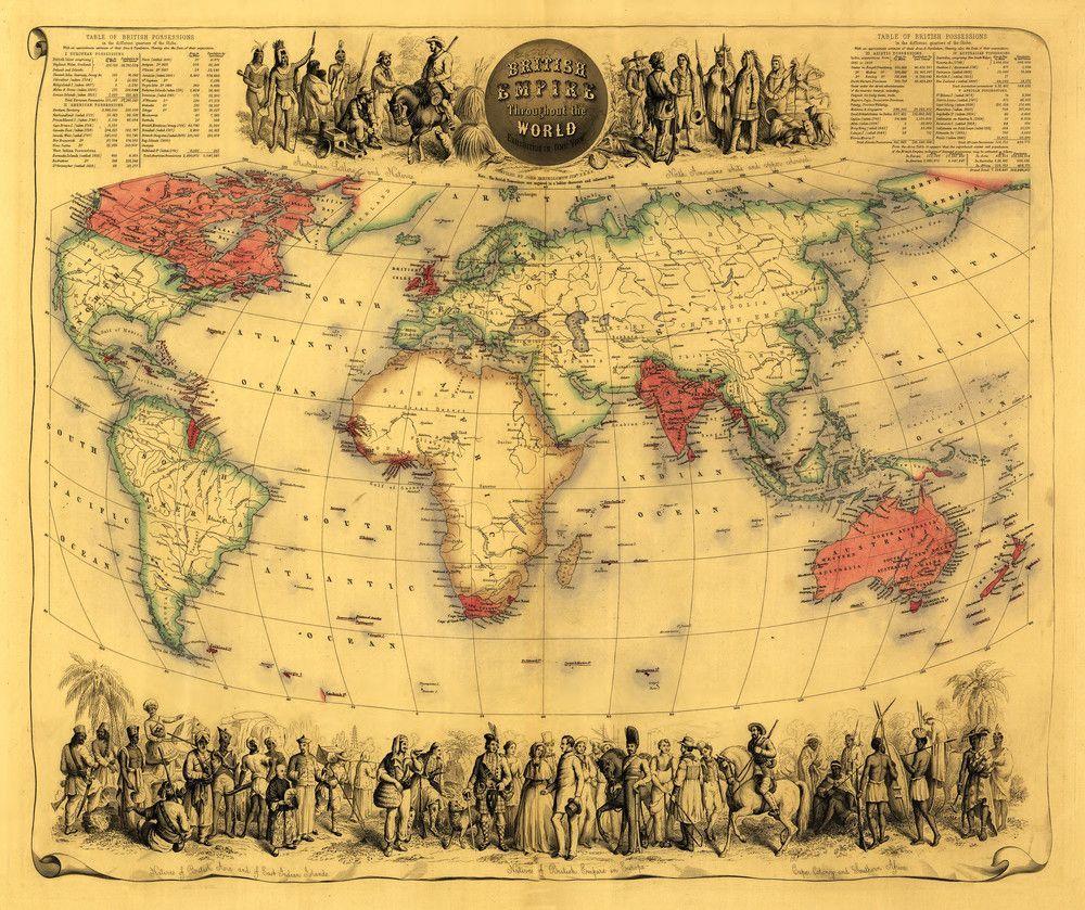 Print (World Map Showing British Empire - (1850) - Panoramic Map ...