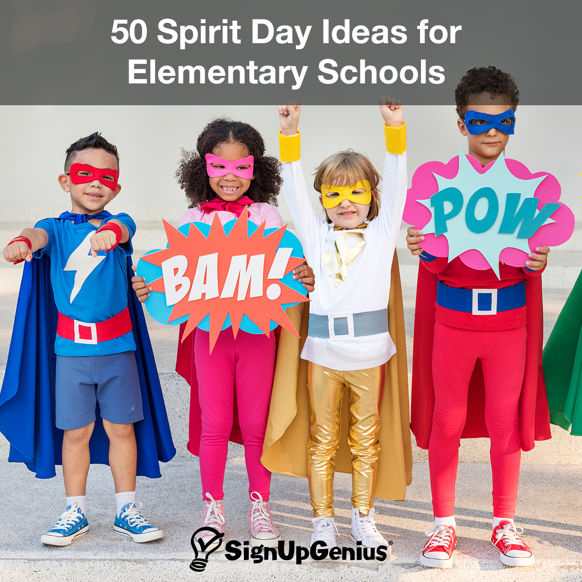 50 Spirit Day Ideas for Elementary Schools. Try these silly and creative costume themes for students at your next school spirit week. #characterdayspiritweek