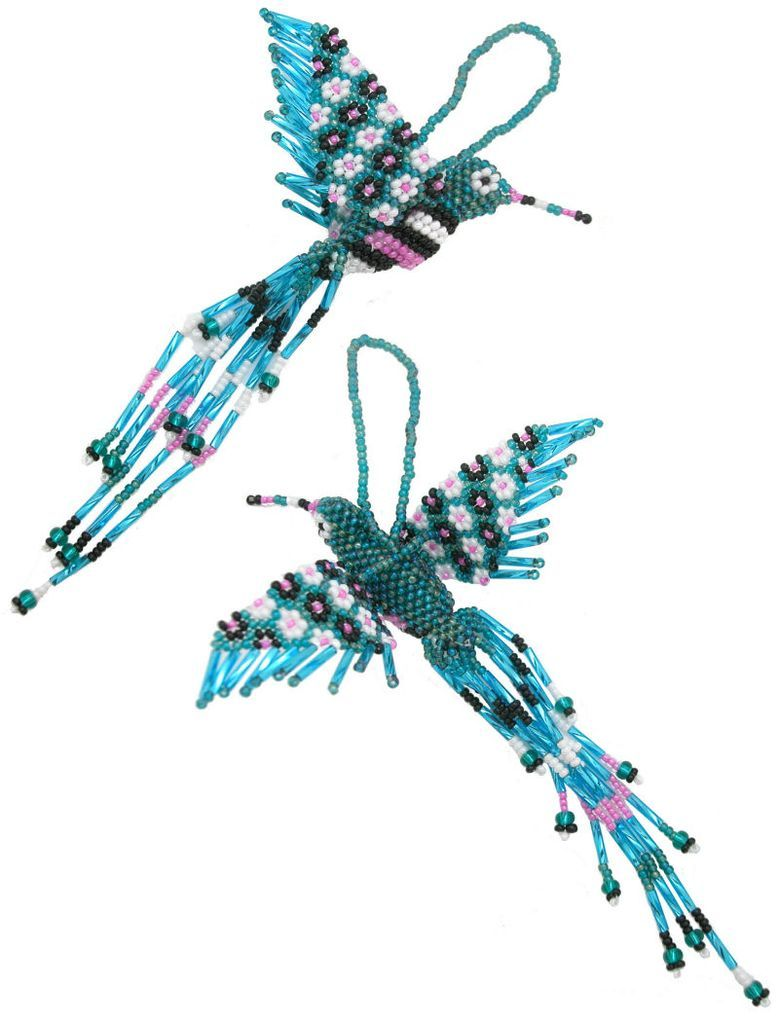 HUMMINGBIRD Beaded Keychain or Ornament Handcrafted