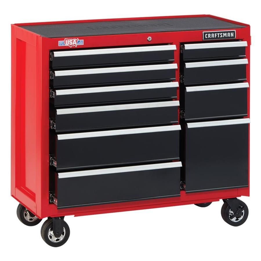 Craftsman 2000 Series 41 In W X 37 5 In H 10 Drawer Steel Rolling Tool Cabinet Red Tool Cabinet Craftsman Tools Craftsman Tools Chest