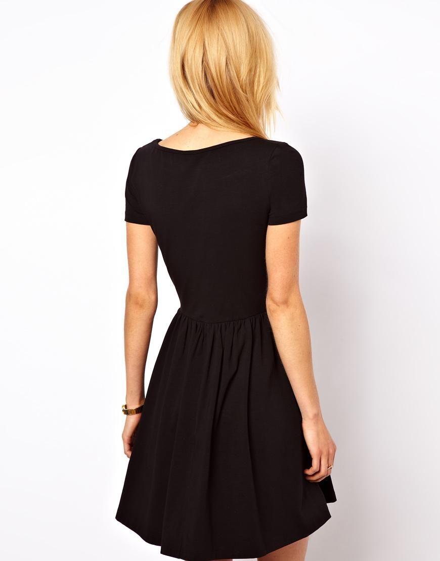 ASOS | ASOS Skater Dress With Slash Neck And Short Sleeve at ASOS