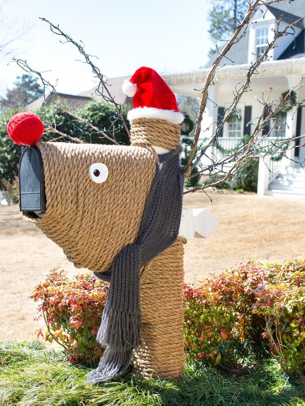 Give Your Mailbox a Festive Makeover - Add Holiday Flair to Your Front Yard  With These DIY Projects on HGTV - Front Yard Christmas Decorations Christmas Pinterest Christmas