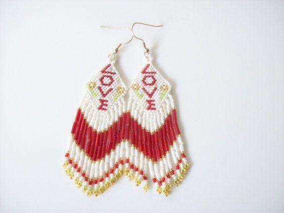heart earrings Valentine\u2019s Day Pink beaded earrings womans earrings handmade