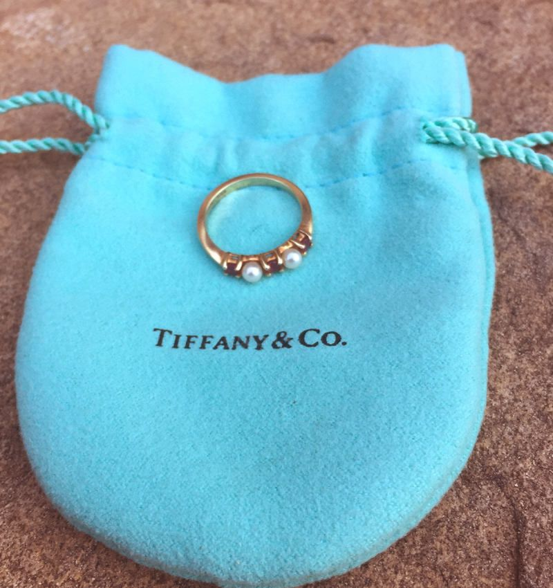 5b1ea6317e Call 704-277-4060 for other pre-owned Tiffany selections! Tiffany and Co.  Pink Ruby and Cultured Pearl Stack Ring in 14k Yellow Gold size 5.5 with  pouch.