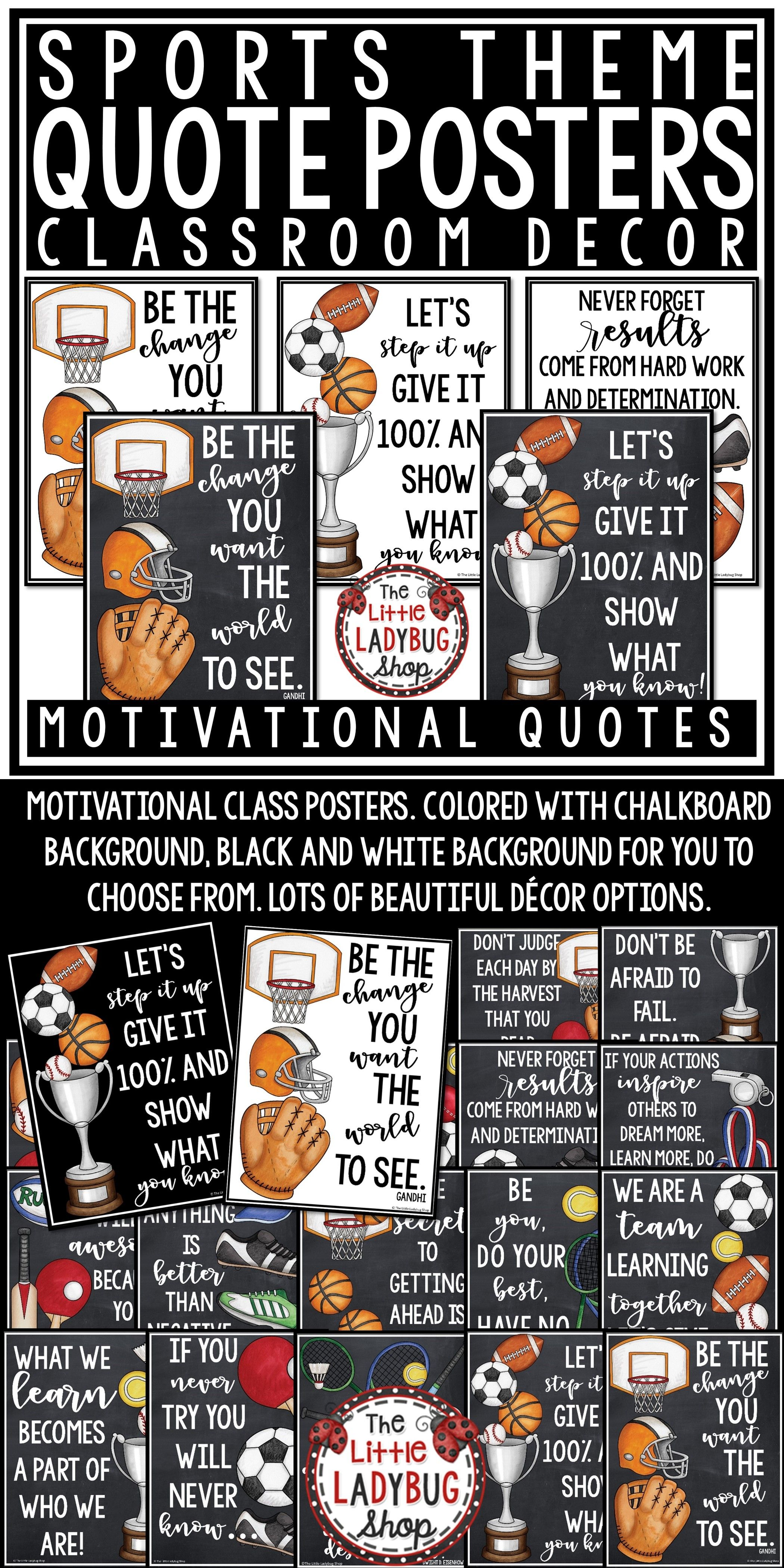 Inspirational Quotes Posters Sports Theme Classroom Decor