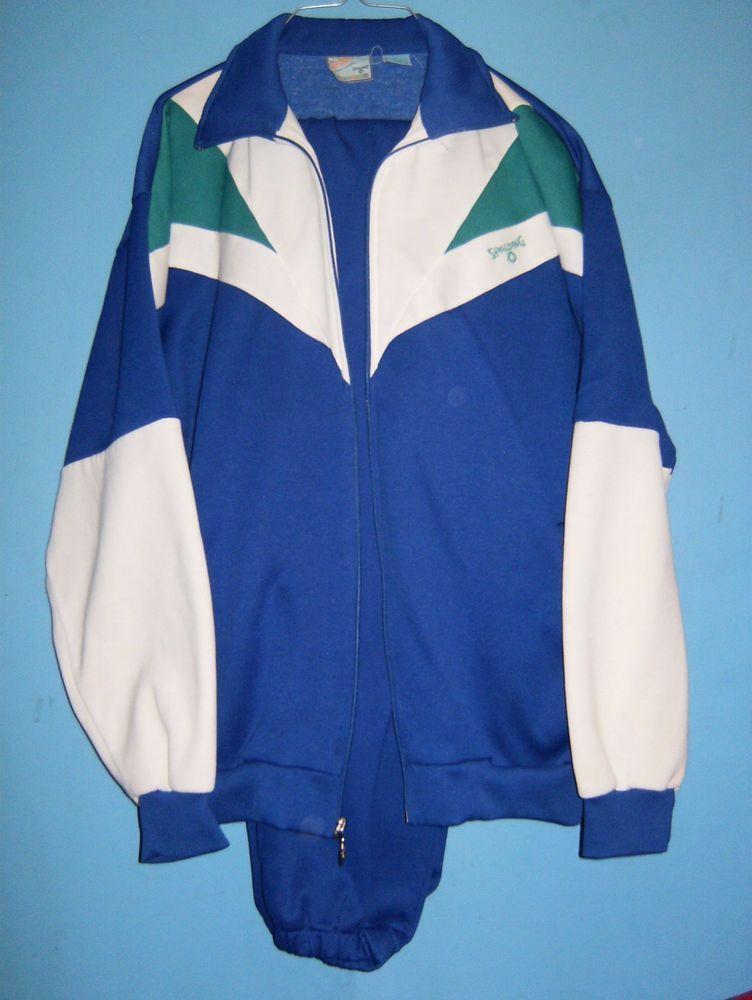 d4ea78cc192e63 SPALDING vtg 70s 80s 90s jogging TRACK SUIT TENNIS WARM UP Pants Jacket-L   SPALDING  TracksuitsSweats