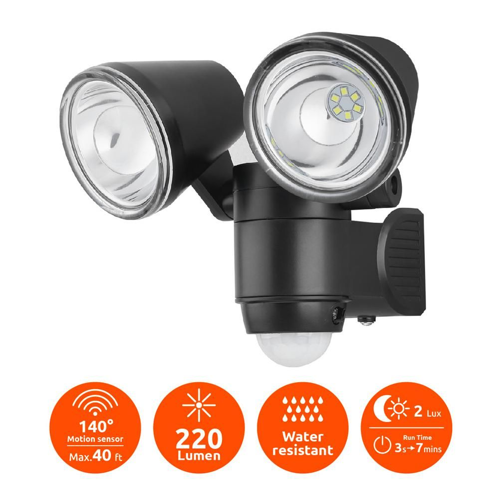 Link2home 330 Lumen Motion Activated Battery Operated Security Light Led Flood Light Waterproof Dusk To Dawn Photocell Sensor Em Bl268b The Home Depot Led Flood Security Lights Motion Sensor