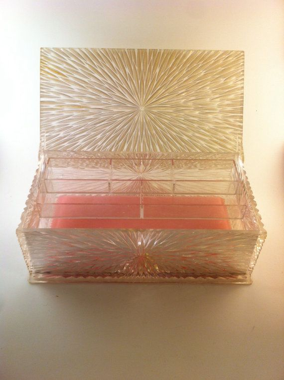 Vintage 1950s Lucite Jewelry Box Makeup Box Box Makeup and Vintage