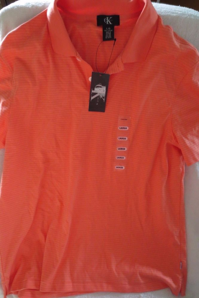 Men Calvin Klein Liquid Cotton Polo Coral Stripe Shirt Size Large New  #CalvinKlein #ButtonFrontPolo