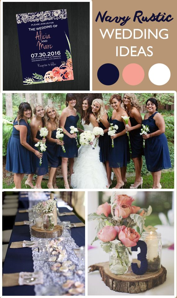 Navy Rustic Wedding Ideas Love The Contrast Between Blush Pink And Blue Colors