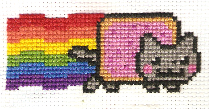 Nyan cat cross stitch needlework