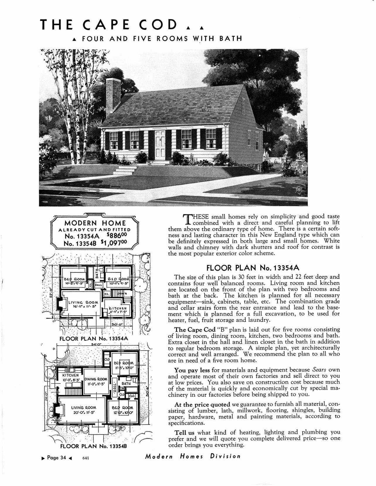 The Cape Cod A Sears Roebuck House Kit 1933 Cape Cod House Plans Cape Cod House Vintage House Plans