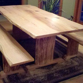 red oak live edge dining table and benches custom made by rustic rh pinterest com