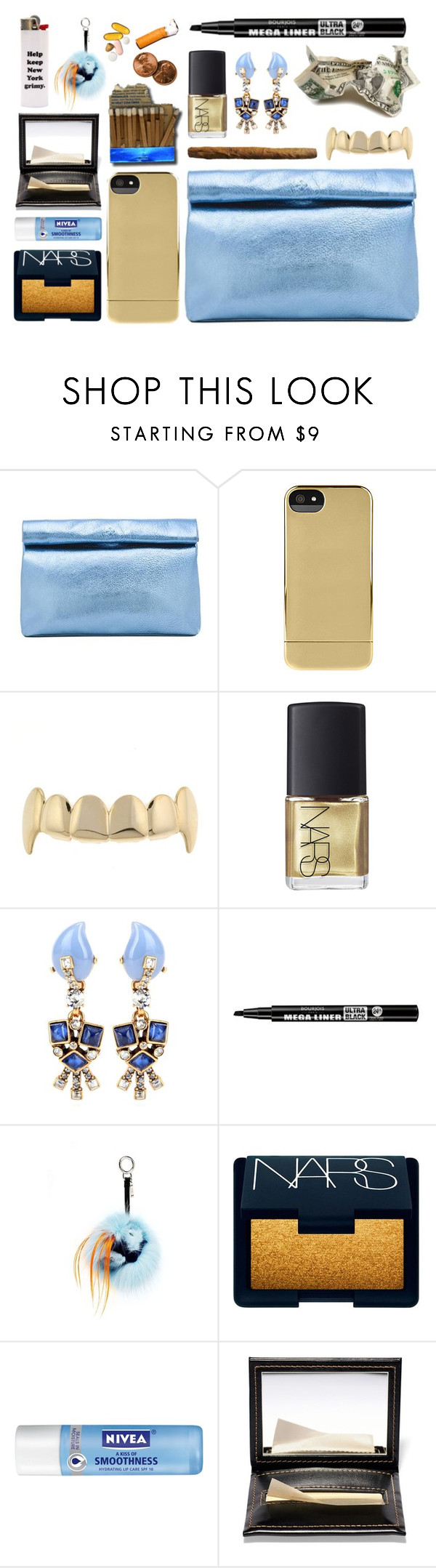 """""""what's in the bag   fall 2015."""" by goldiloxx ❤ liked on Polyvore featuring Marie Turnor, Incase, NARS Cosmetics, Oscar de la Renta, Bourjois, Fendi, Nivea, Bobbi Brown Cosmetics, Clutch and metallic"""