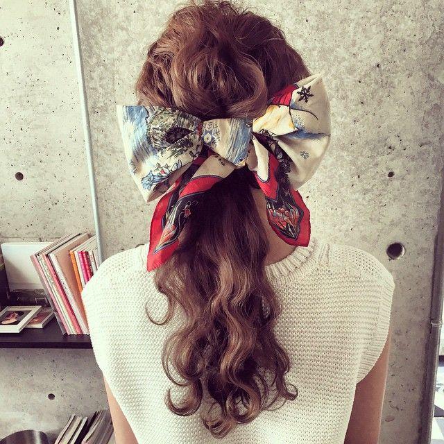 マリ On Instagram スカーフをリボンに 夏のまとめ髪に
