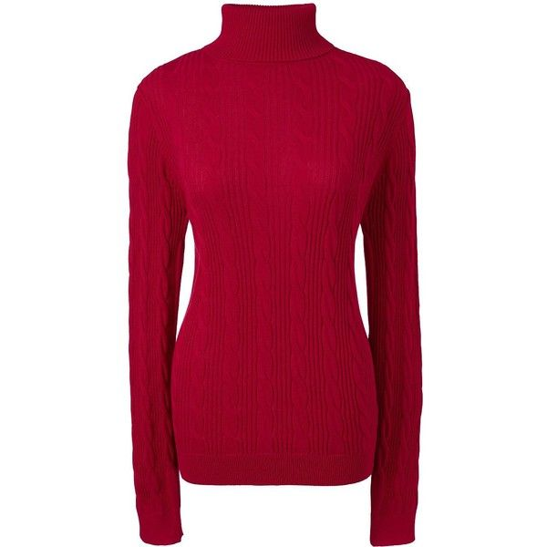Lands' End Women's Petite Cable Turtleneck Sweater ($59) ❤ liked ...
