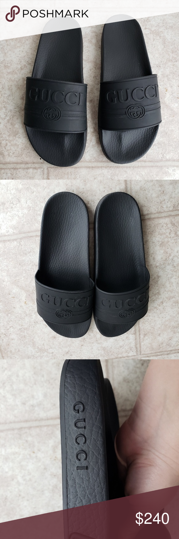 23b7c622c93 Gucci Pursuit Black Logo Rubber Slides 8 Men 10 These were only worn twice.  No box or bag. These are a men s size 8 but i m a women s size 10 and they  ...