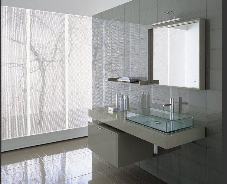 Meuble Sous Vasque En Gris Laqué Carrelage Sol Assorti Et Vasque En