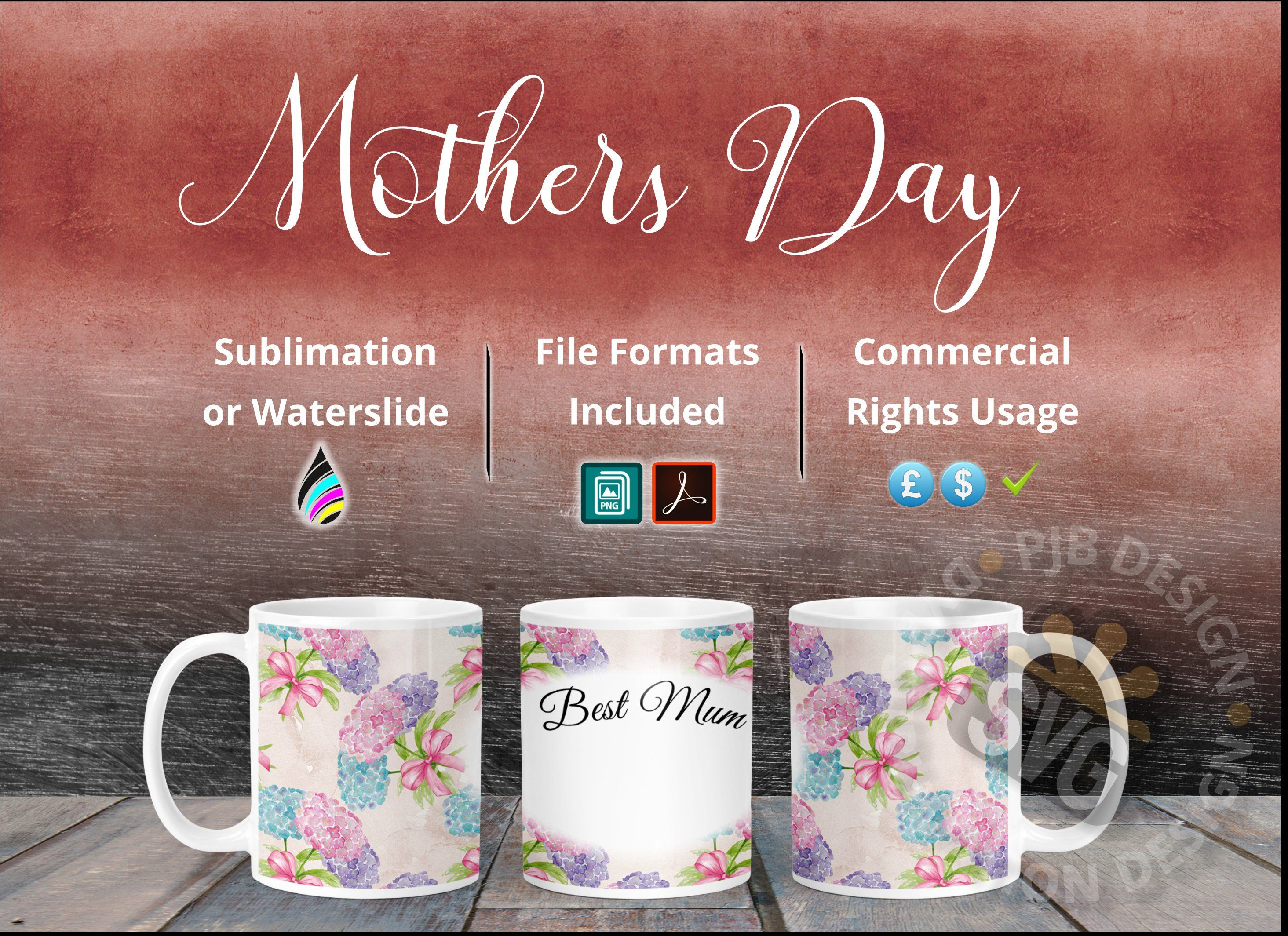 Best Mum Mothers Day Mug Triple Template Design Dye Sublimation Or Waterslide Decals Single Double Blank Plaque By Mother S Day Mugs Mugs Mothers Day