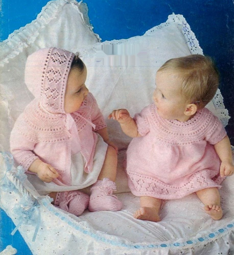 PDF Vintage Knitting Pattern Baby Dress Jacket Bonnet Bootees Chest ...