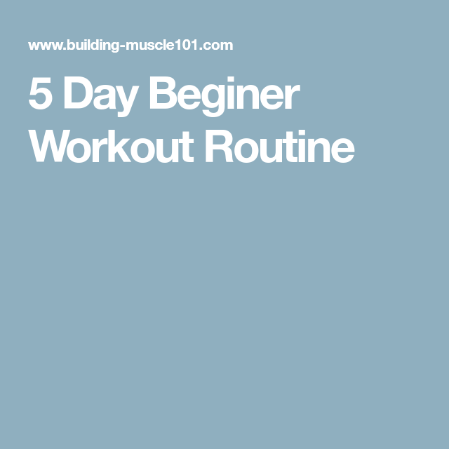 Ca  30 Resultater: 5 Day Workout Routine Building Muscle 101
