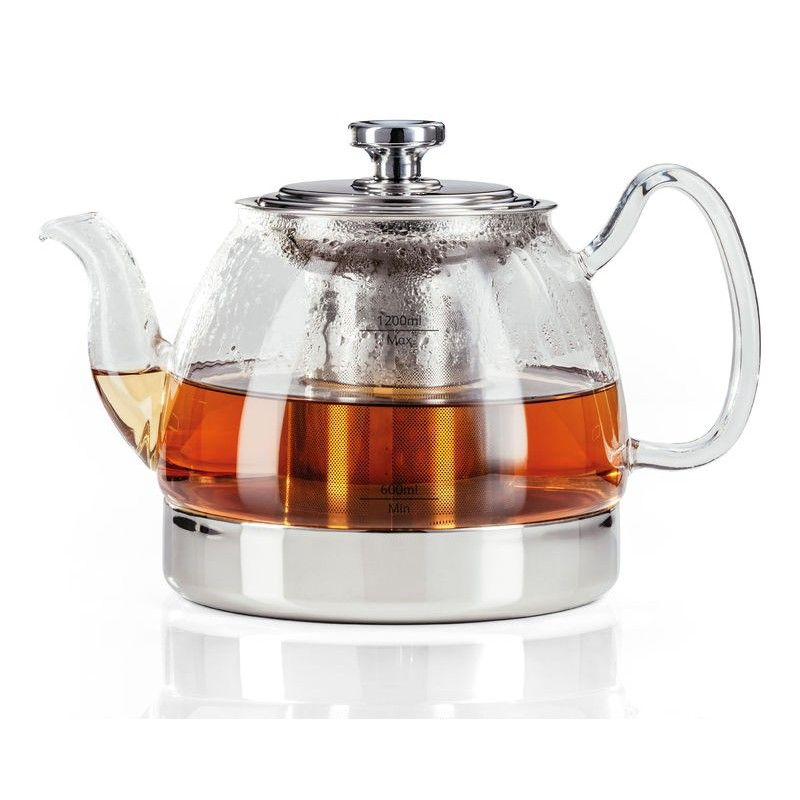 This Stylish Glass Tea Kettle Is Shaped With A Round Wide Center And A Dribble Free Pouring Spout This Glass Teapot
