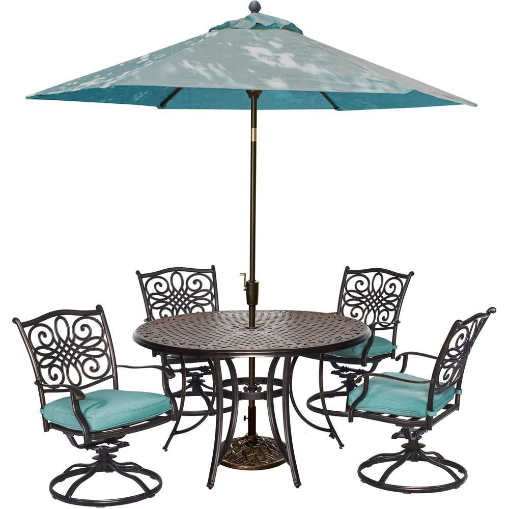 ec51827e37a Outdoor Hanover Lavallette Steel 5 Piece Square Patio Dining Set Ocean Blue