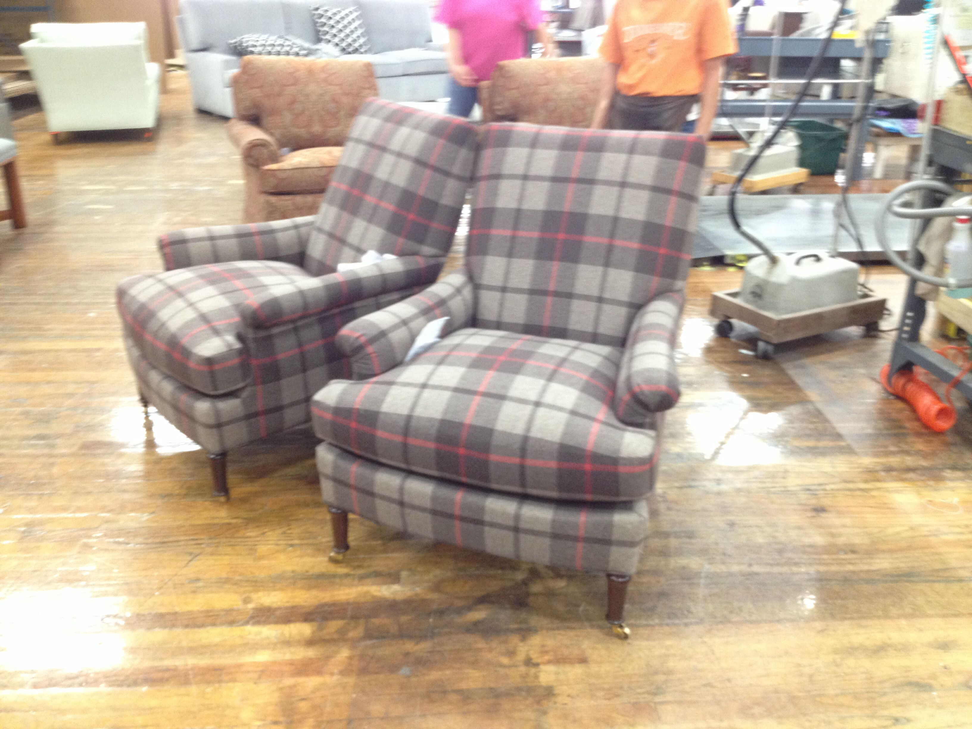 A Pair Of 1527 24 Virginia Chairs From The Suzanne Kasler Collection  Dressed In Plaid
