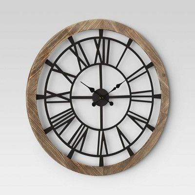 32 Wood And Metal Wall Clock Brown Threshold Black Wall Clock Large Black Wall Clock Large Wall Clock