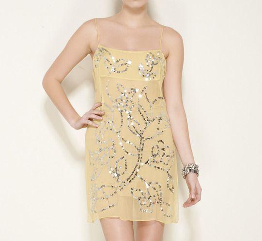 BCBGMAXAZRIA Yellow And Silver Dress