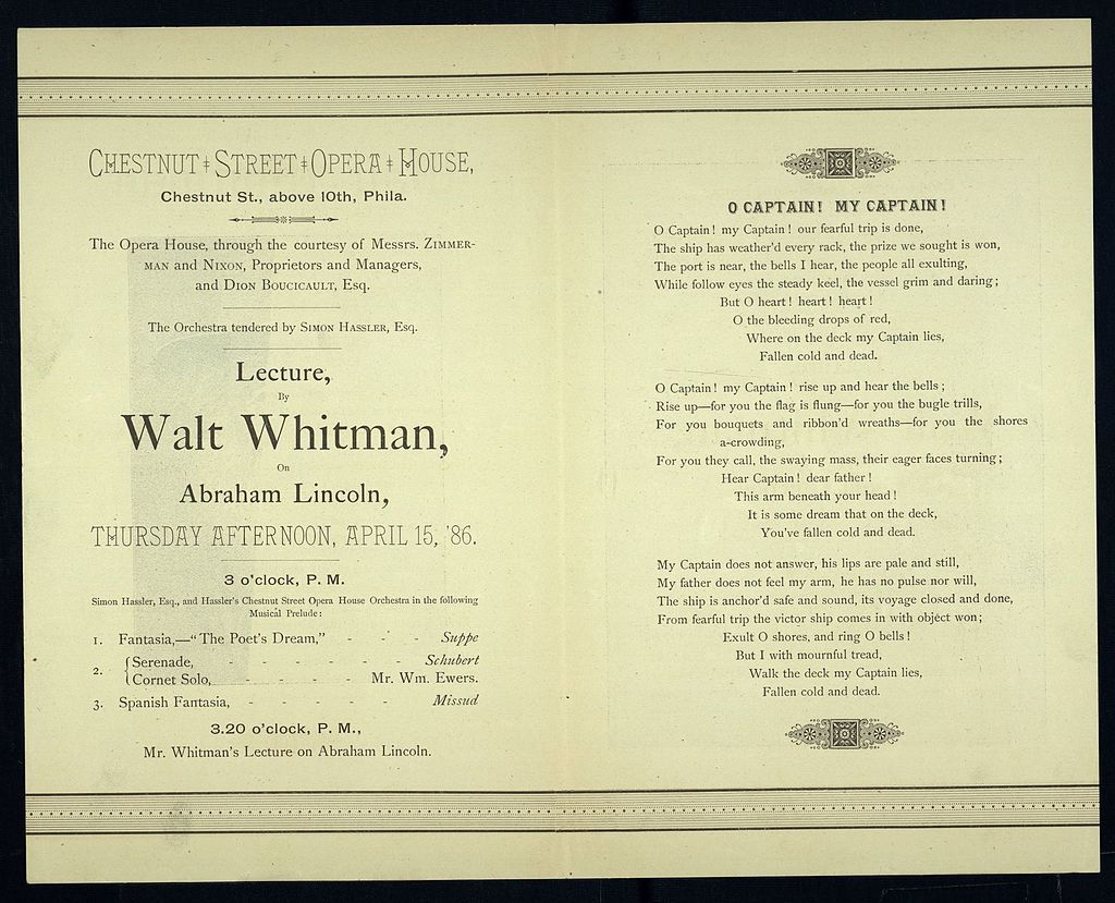 Walt whitmans lecture on lincoln invitation 1886 o captain my walt whitmans lecture on lincoln invitation 1886 o captain my captain wikipedia stopboris Gallery