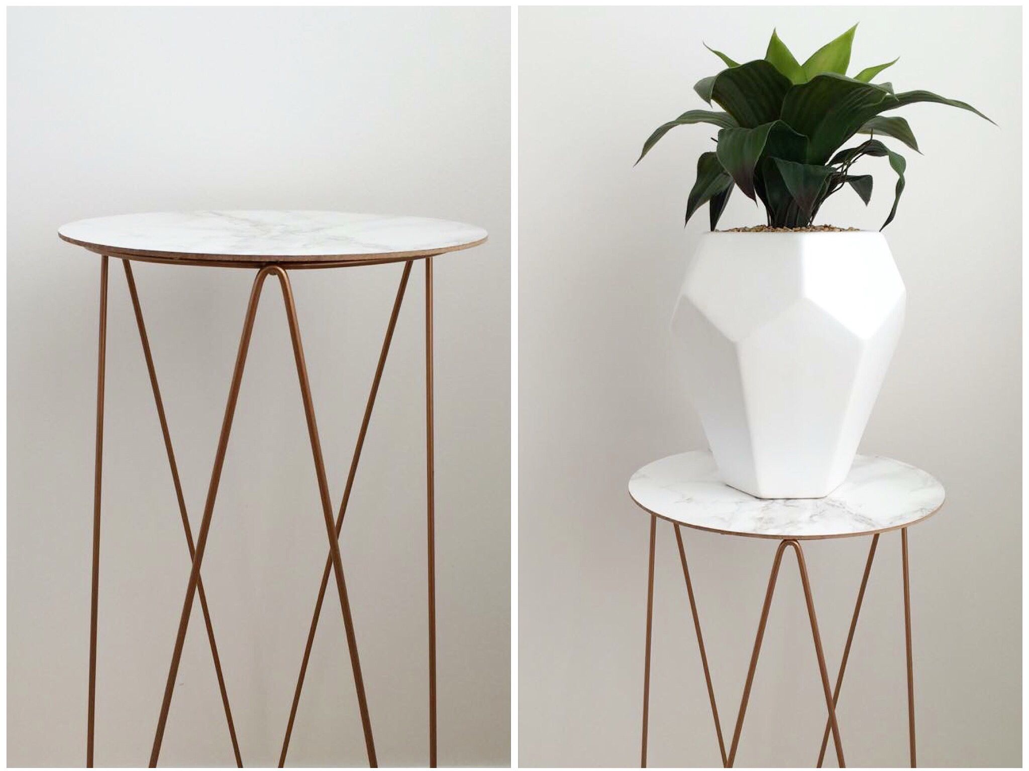 diy marble copper side table diy bedroom decor. Black Bedroom Furniture Sets. Home Design Ideas