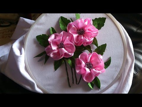Satin Ribbon Embroidery Design For Long Frocks Ribbon Embroidery