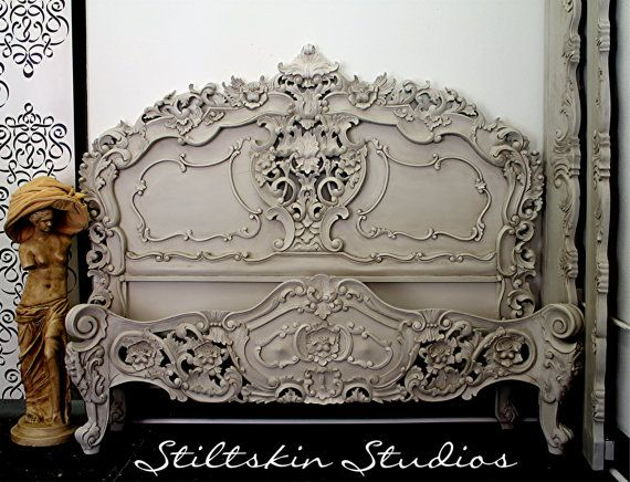 Fabulous Vintage Rococo Queen Bed Frame Ornate By Stiltskinstudios 2550 00 Grey Painted Furniture Painted Headboard Painted Furniture