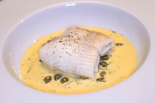 Poached plaice with a caper-dill hollandaise sauce