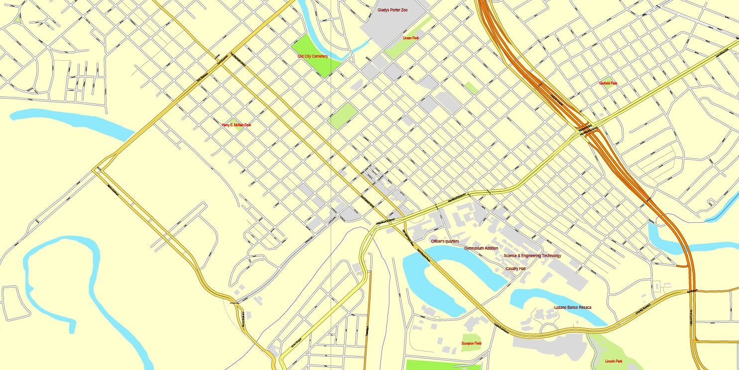 Brownsville, Texas, US, + Matamoros, Mexico, printable vector street ...