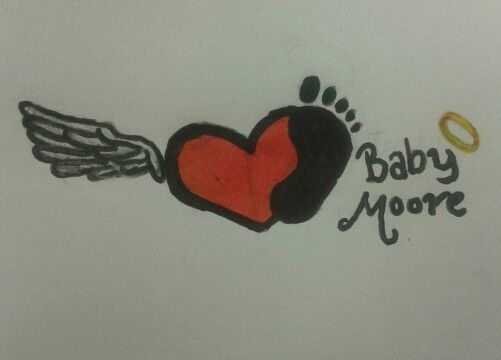 In memory of my  miscarriage. Drew it for a tattoo. Love my angel baby moore ♡
