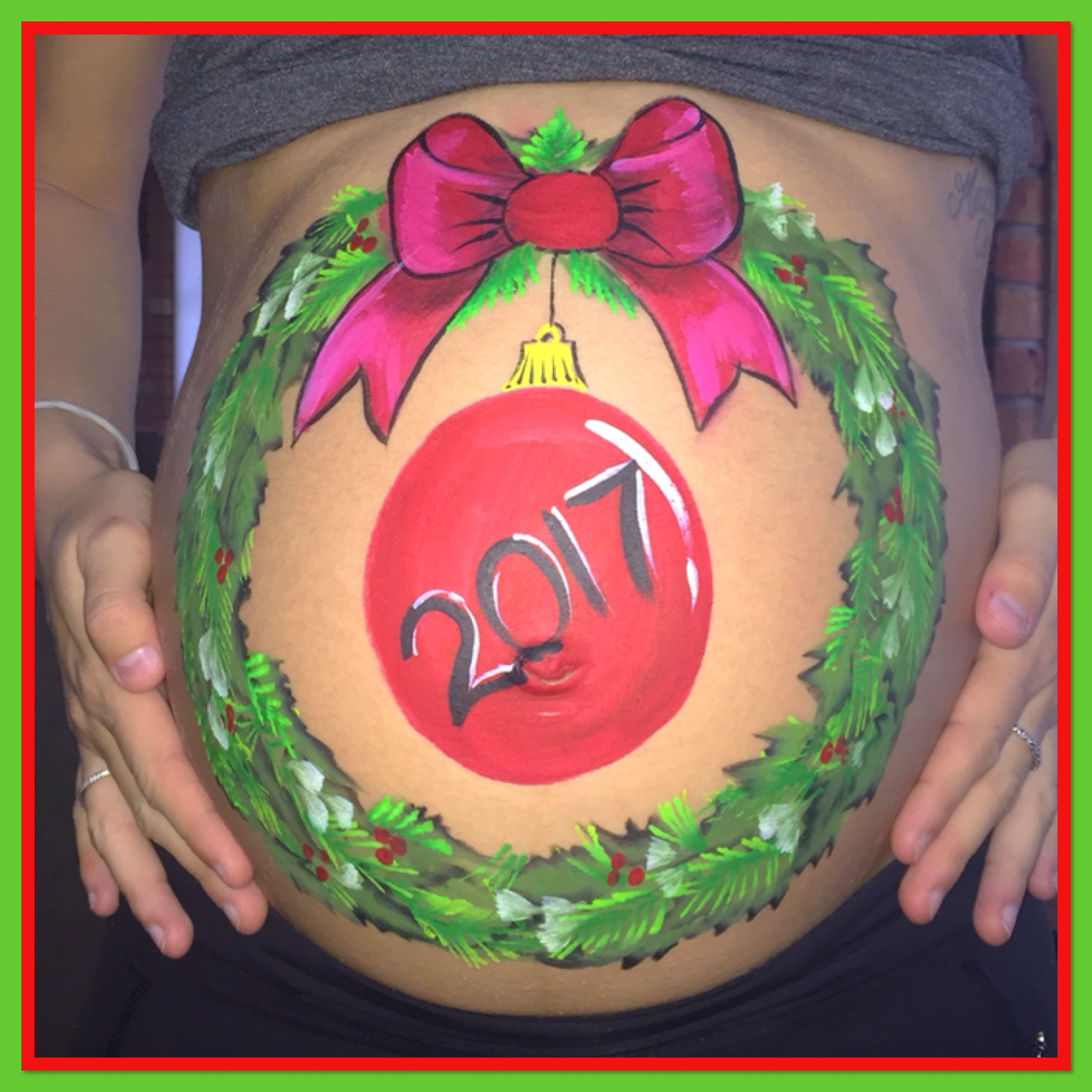 Christmas Baby Bump Painting The Blue Leopard Face Painting Facebook Bump Painting Belly Painting Face Painting