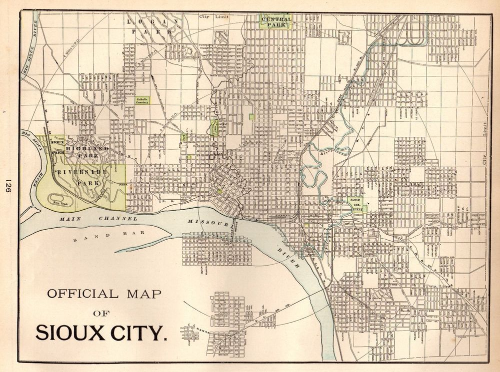 1901 Antique Sioux City Iowa Map Vintage Collectible Map Of Sioux