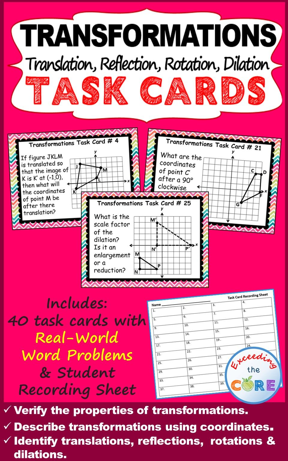TRANSFORMATIONS Translate, Reflect, Rotate, Dilate - Task ...