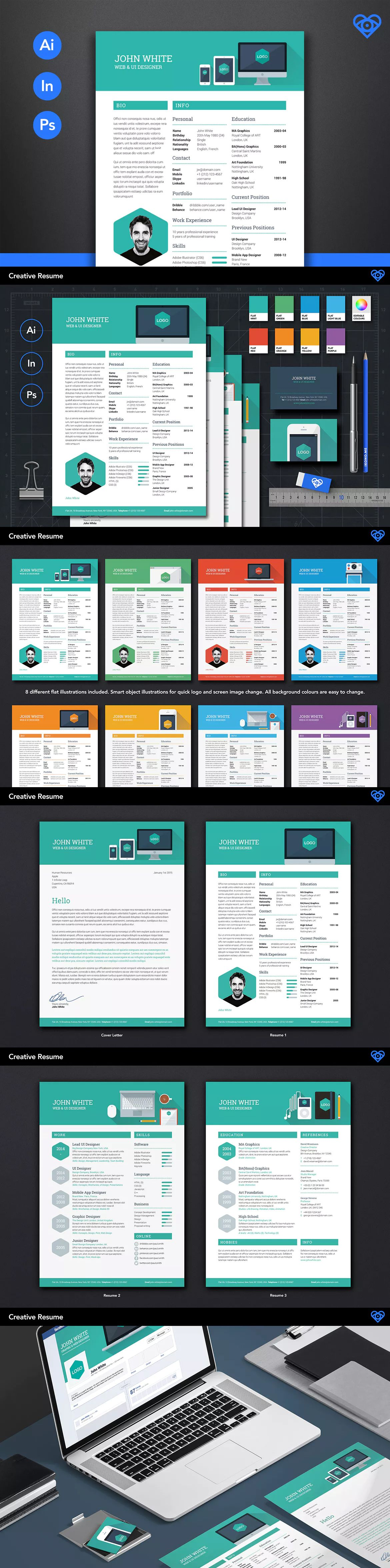 Creative resume template ai indd eps a4 and us letter