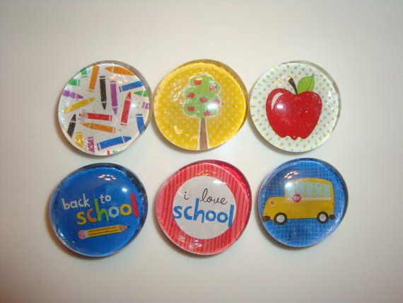 Beautiful set of 6 teacher magnets. Each one finished with modge podge and has a small strong magnet in the back with a pull force of 2 lbs. Perfect teacher gift for Christmas or any occasion!