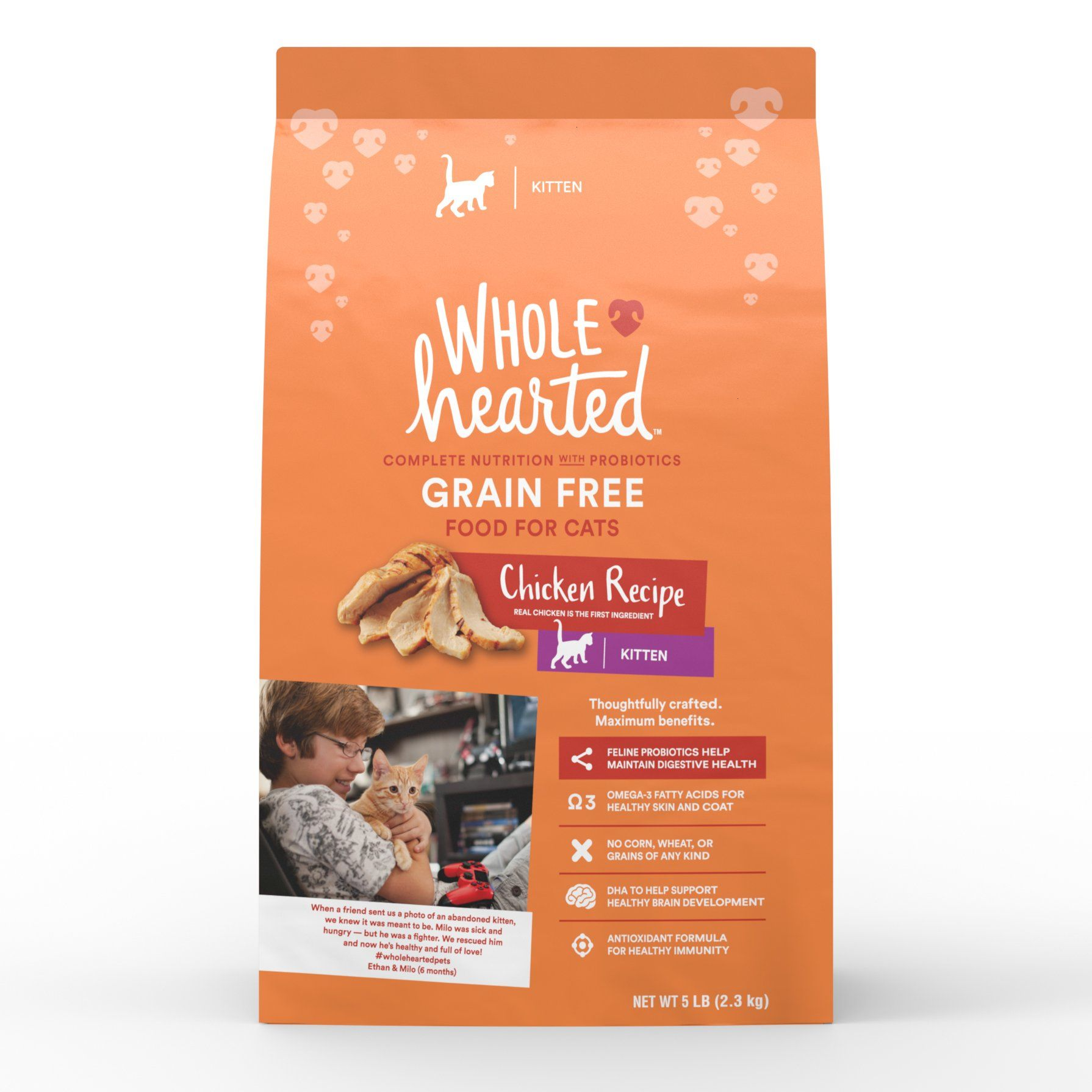 Wholehearted Grain Free Chicken Formula Dry Kitten Food 5 Lbs Dry Cat Food Kitten Food Chicken Recipes Dry