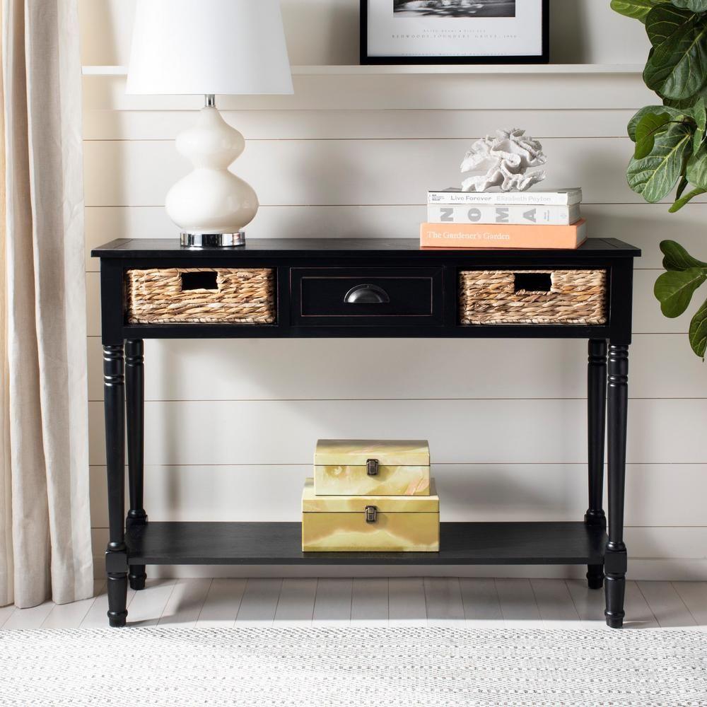 Safavieh Christa Distressed Black Storage Console Table Console