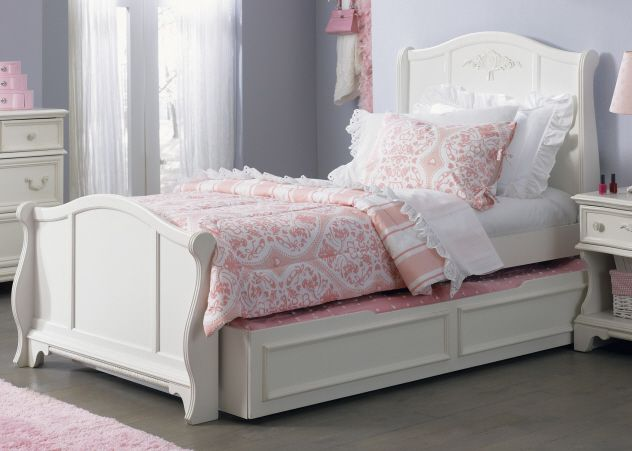 gothic cabinet craft snow white twin size trundle sleigh bed 82900 https - White Twin Bed Frame