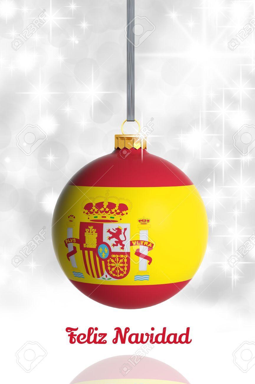 Feliz Navidad de España. Bola de Navidad con la bandera