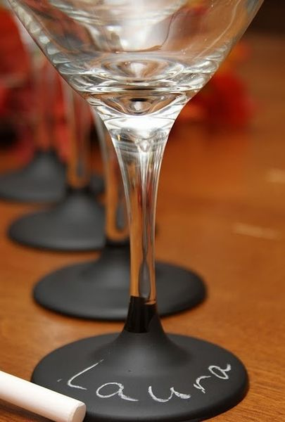 wine glasses decorated with blackboard paint and chalk from lesserevilife.com