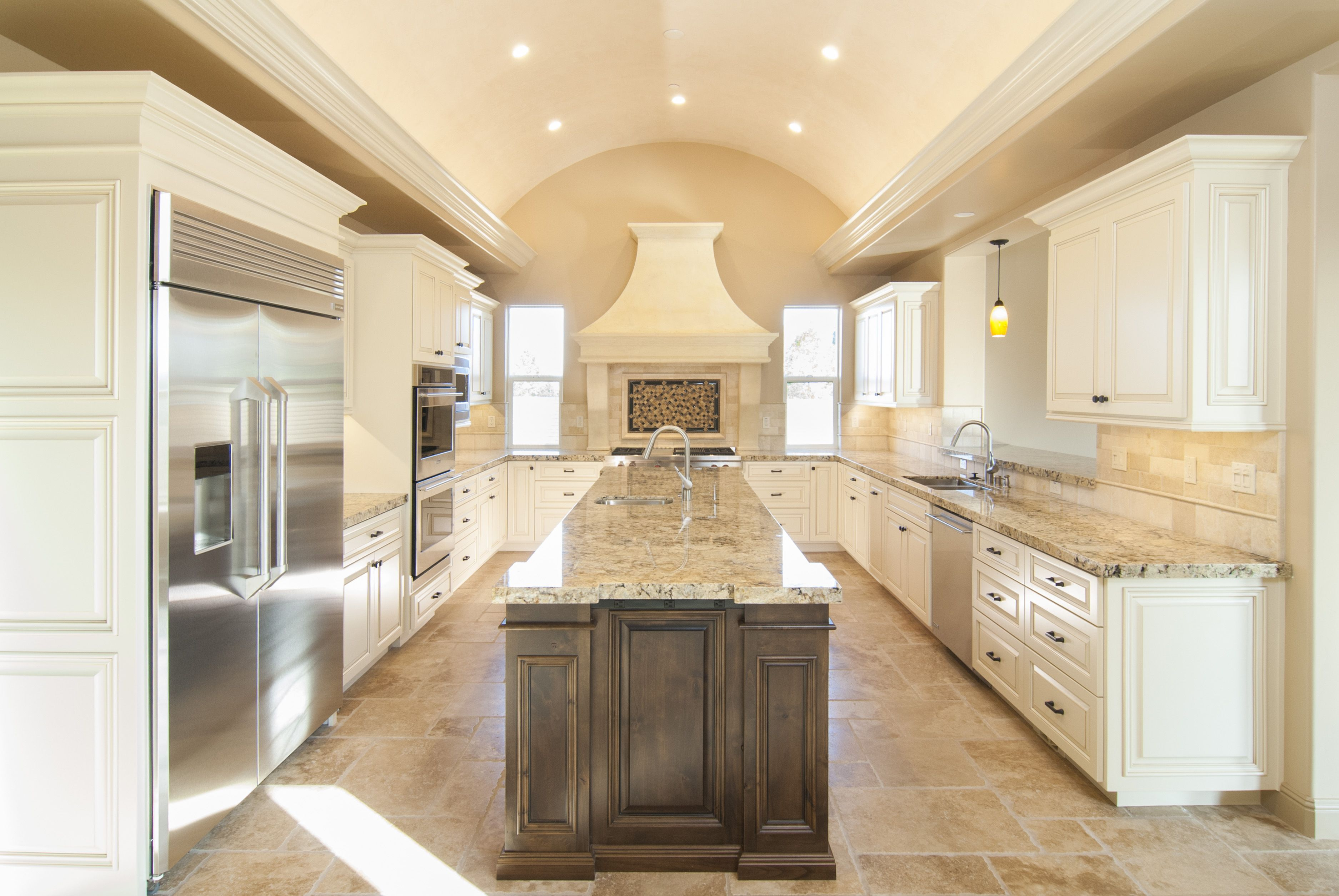 Beautiful traditional off white kitchen with a knotty